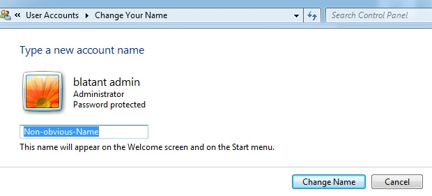 Change account name in Windows 7