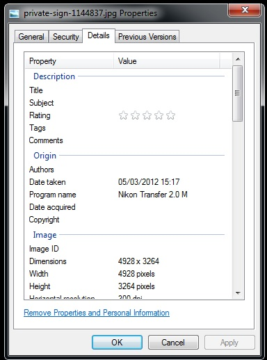 EXIF Data viewable from Windows