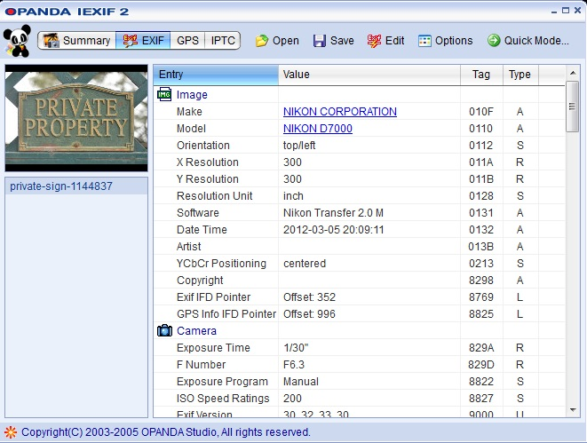 Panda Iexif 2 screenshot of Meta Data