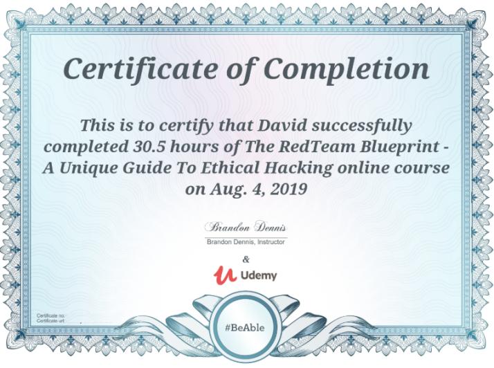 RedTeam Nation - Brandon Dennis - Certificate of completion